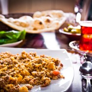Iraqi breakfast - lamb and eggs - Bait Al Baghdadi Dubai