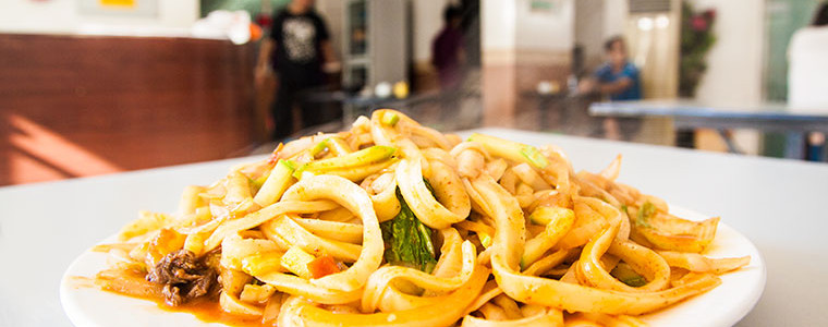 Stir-fry noodles with beef at Lan Zhou Noodle Restaurant - International City - Dubai