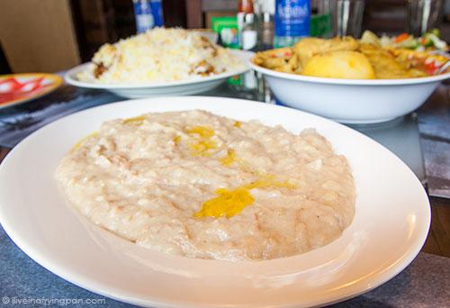 Harees - meat and wheat porridge - Jawareh Traditional Restaurant - Emirati food - Qusais - Dubai